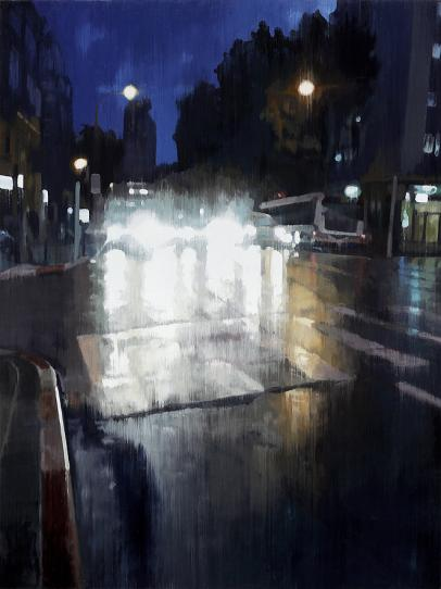 Night Traffic 2017 oil on wood 110 x 82,5 cm